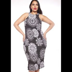 Madeline K Couture Body Con Black with White Print
